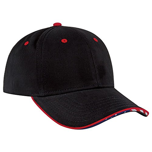 Sandwich Twill Cotton Brushed (Product of Ottocap United States Flag Pattern Piping Design Sandwich Visor Ultra Fine Brushed Cotton Twill Six Panel Low Profile Baseball Cap -Black [Celebrate July 4 USA Independence Day])