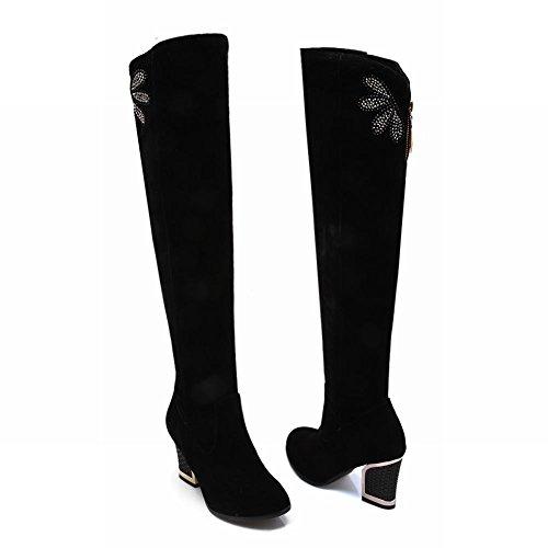 Carolbar Dames Strass Multi Rits Charme Mode Elegantie Hoge Dikke Hak Lange Jurk Laarzen Zwart