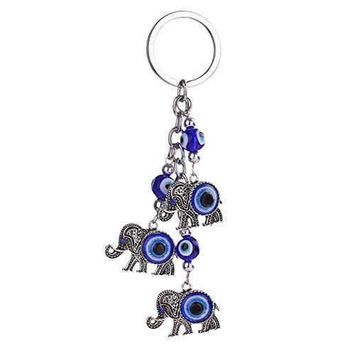 Elephants Evil (Afco Blue Evil Eye Key Chain Cute Elephant Dolphin Animal Pendant Car Handbag Keyring)