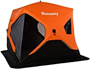 """Outsunny 90.5"""" Pop-up Ice Fishing Shelter Tent for 4 People -40℃ Portable w/Carry Bag Zippered Doors Grou"""