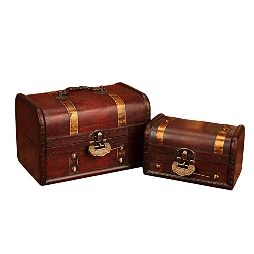 Dreamseeker Wooden Storage Box, Vintage Style Wood Decorative Boxes, Decorative Treasure Box with Latch for Wardrobe Office Living Room (2 Piece) ()