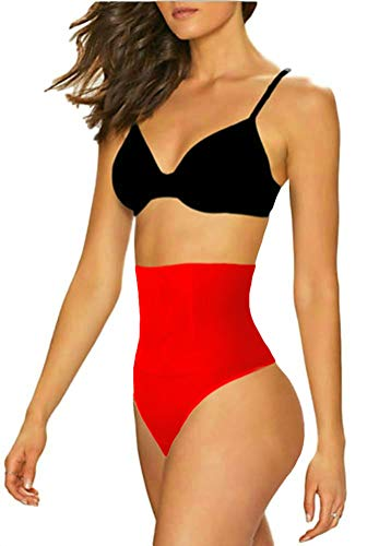 ShaperQueen 102B Best Womens Waist Cincher Body Shaper Trimmer Trainer Slimmer Girdle Faja Bodysuit Short Diet Tummy Belly Control Brief Corset Plus Size Underwear Shapewear Thong (XXL, Red)