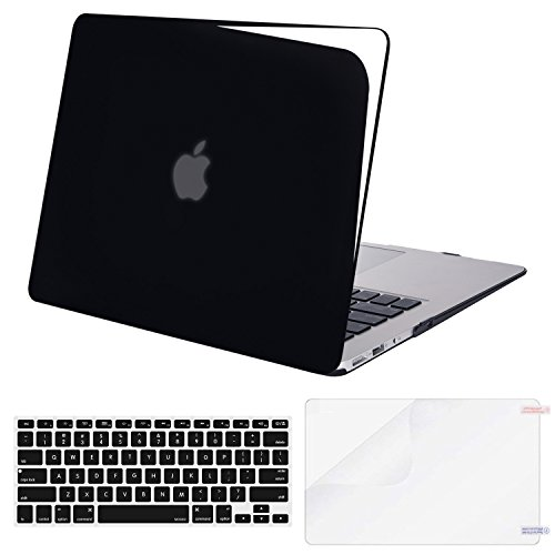MOSISO Plastic Hard Shell Case & Keyboard Cover & Screen Protector Compatible MacBook Air 11 Inch (Models: A1370 & A1465), Jet Black