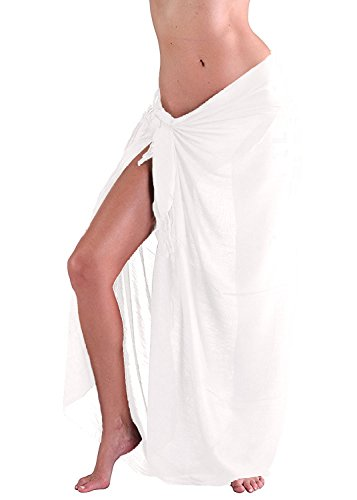 M&B USA Womens Sarong Pareo Tie Dye Cover Up Wrap Beach Swimsuit Bikini Summer (White, One Size) -