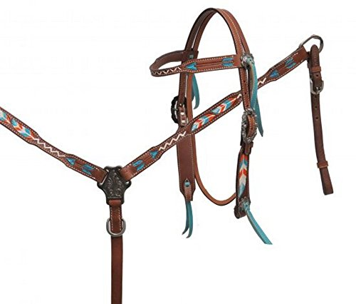Showman Leather Bridle & Breast Collar Set w/ TEAL & ORANGE Arrows & Feathers