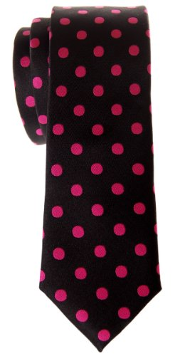 - Retreez Classic Polka Dots Woven Microfiber Skinny Tie - Black with Hot Pink Dots