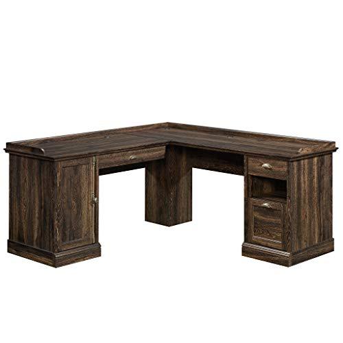 Sauder 422710 Barrister Lane L-Desk, Iron Oak Finish