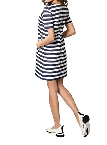 Sleeve Striped Chic As1 Coolred Short With Dress Women's Pocket Mini 1FYqYX5