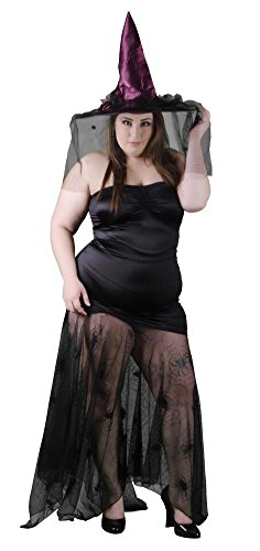 Delicate Illusions Plus Size Wicked Widow Witch Womens Halloween Costume 1X (14-16) Black/Burgundy