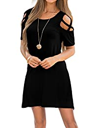 Womens Dresses Summer Strappy Cold Shoulder Swing T-Shirt Loose Dress with Pockets