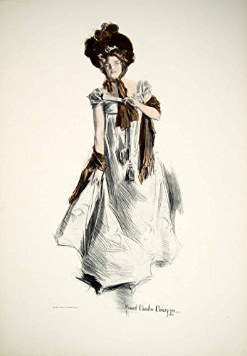 1908 Print Howard Chandler Christy Belle of the Olden Time Fashion Dress TFP1 - Original Color - Fashion Chandler