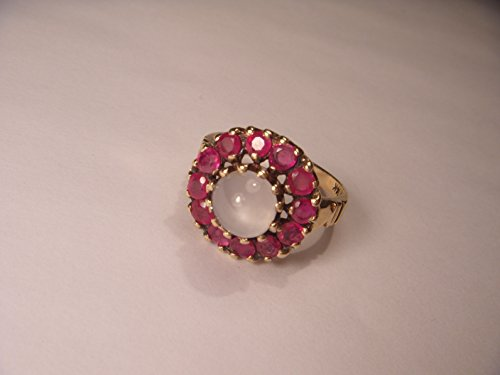 Beautiful Antique Estate 14K Yellow Gold Ruby Rubies Moonstone Ring Band - Moonstone Ruby