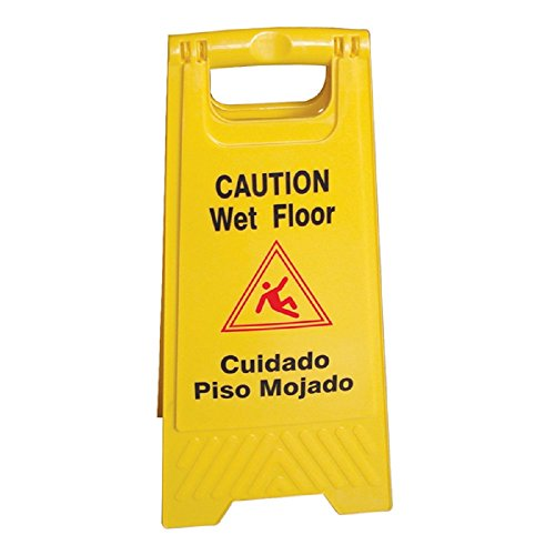 4 PACK CAUTION SIGNS WET FLOOR SIGN YELLOW TWO SIDED EASY TO READ & STORE FOLD UP by AmGood