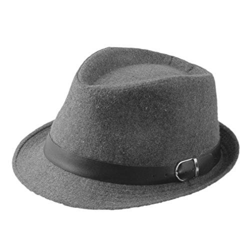 [ZHENXIA Kids Boys Girls Vintage Wool Felt Fedora Jazz Cap with Belt (Grey)] (Ganster Hat)