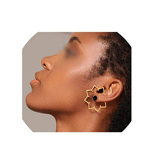 Maple Leaf Geometric Stud Earrings For Women Gold Color Stainless Steel Earings,Rose gold color