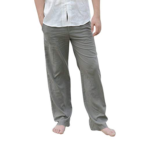 Hombres Con Sueltos De Grün Y Pantalones Lino Battercake Ocio Los Cómodo Elásticos IC4Bqwq