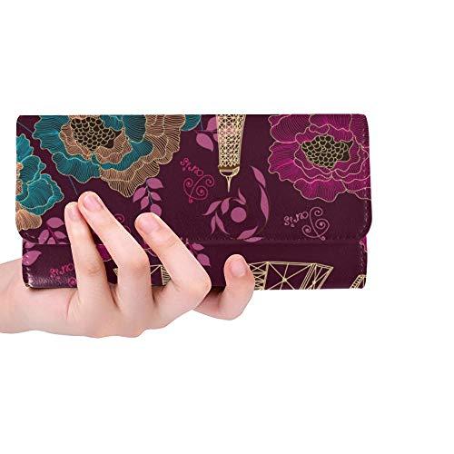 Unique Custom Vintage Flowers Paris Interesting Places Pattern Women Trifold Wallet Long Purse Credit Card Holder Case - Quilt Bourke