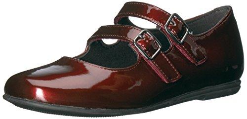 Rachel Shoes Girls' Shara Mary Jane Flat, Burgundy Patent, 12 M US Little Kid