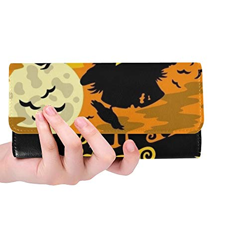 Unique Custom Happy Halloween Sign Scarecrow Women Trifold Wallet Long Purse Credit Card Holder Case Handbag ()