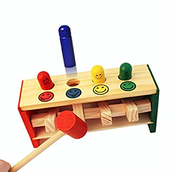 Wooden Toys Pounding Bench Wood Mallet Game For Baby Toddlers 1
