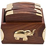 Stylla London Handcrafted Elephant Design Brass Onlay Wooden Decorative Set of 6 Coasters by Stylla London