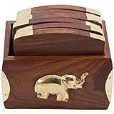 Stylla London Handcrafted Elephant Design Brass Onlay Wooden Decorative Set of 6 Coasters by Stylla London