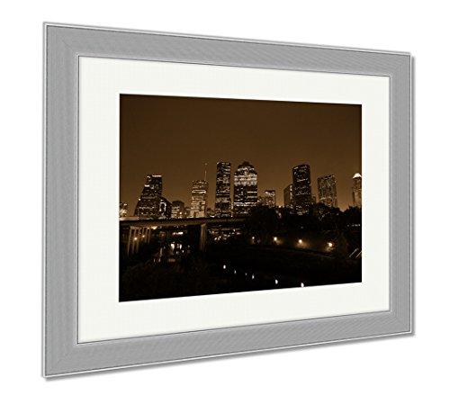 Ashley Framed Prints Houston Sunrise, Contemporary Decoration, Sepia, 26x30 (frame size), Silver Frame, - Tx Shop Sun Houston