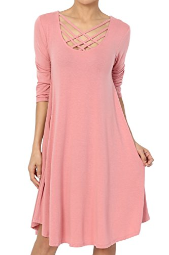 TheMogan Women's Lattice 3/4 Sleeve Pocket Trapeze T-Shirt Dress Dusty Rose M
