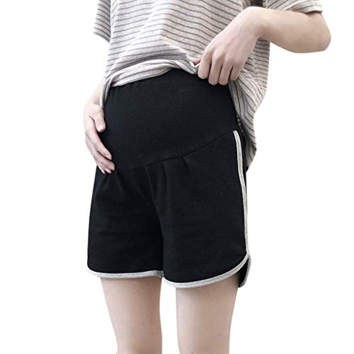 RIUDA Maternity Women's Sports Maternity Shorts Underbelly Wide Elastic Band High Waist Pants for Women Black