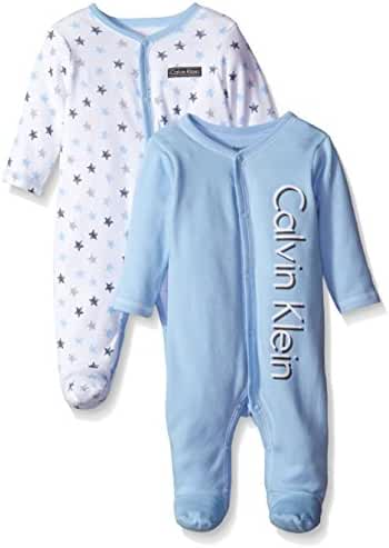 Calvin Klein Baby-Boys Newborn 2 Pack Sleep Stretchies Blue and Gray