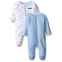 Calvin Klein Baby-Boys Newborn 2 Pack Sleep Stretchies Blue and Gray, Multi, ...