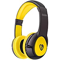 Wireless Bluetooth Headphones, Bodecin Skin Friendly Leather 3D Sound Sport Bluetooth 4.0 Headsets for iPhone/iPad/Android Build in Mic Support TF Card with USB Charging Cable(Black+Yellow-S99)