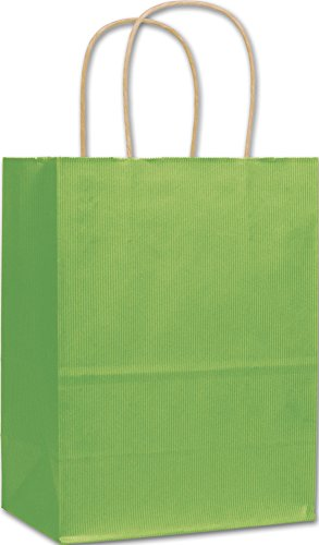 Apple Green Varnish Stripe Shoppers, 8 1/4x4 3/4x10 1/2'' (250 Bags) - BOWS-15-080410-55 by Miller Supply Inc
