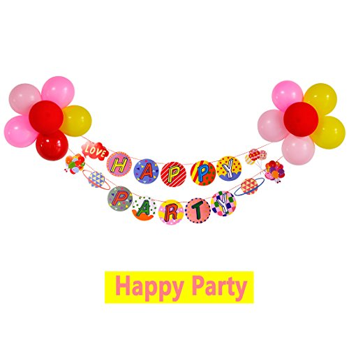 Premium Quality Decorations For Home Party Banner And 12\'Inch Balloons Package For Boys And Girls ColouredFlags Colorful Letters with Friends