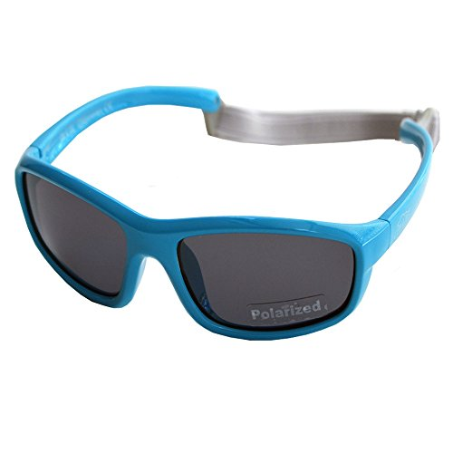 Baby Toddler Polarized Sunglasses With Strap 100% UV Block (M: 2-6Y, Blue) by JAN & JUL