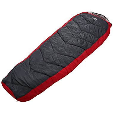 All Season Mummy Sleeping Bag [87x32in] - Comfort Temperature Range of 32-60°F. Constructed with a Ripstop Waterproof Shell, Woven Polyester Liner & High-Loft Fill. Comfortably Fits Most up to 6'6.