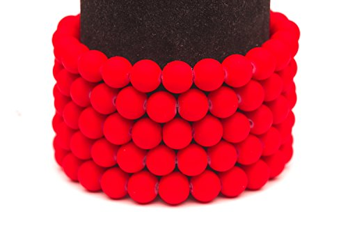 Frosted glass beads hot red rubber-tone beads 10mm round Sold per pkg of 2x32inch (180 BEADS)