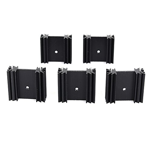 Small Black Aluminum Heat Sink Module Cooler Fin for Package TO-220 Diodes, Non-Inductive Resistors, LM78xx LM317 LM337 Regulator IC, Small Power Transistor Semiconductor Devices (5 pcs)-F by Walfront (Image #6)