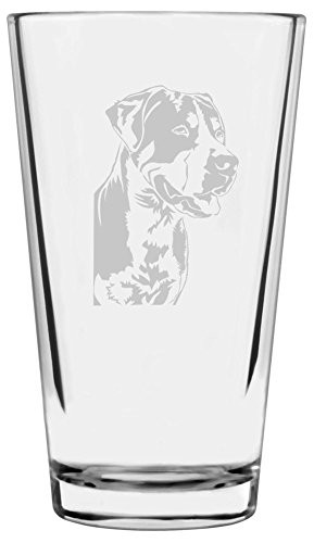 Greater Swiss Mountain Dog Themed Etched All Purpose 16oz Libbey Pint Glass ()