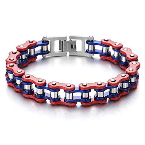 - COOLSTEELANDBEYOND Masculine Mens Boys Stainless Steel Motorcycle Bike Chain Bracelet, Silver Red Blue, High Polished