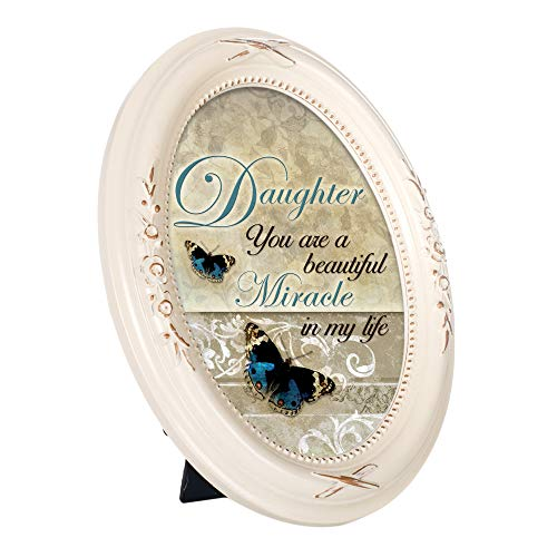 Cottage Garden Daughter Beautiful Miracle Distressed Ivory Floral 5 x 7 Oval Table and Wall Photo Frame ()