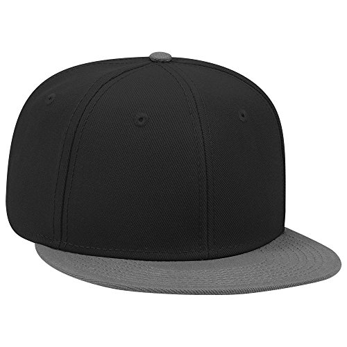 (OTTO SNAP Wool Blend Twill Round Flat Visor 6 Panel Pro Style Snapback Hat - Ch.Gry/Blk/Blk)
