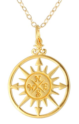 24k Gold Plated Bronze Compass Rose Pendant Necklace with 14k Gold Filled Chain (18 Inches)