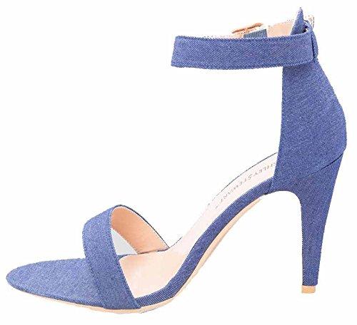 Orly Shoes Women's Wide Width Strappy PU Heel Sandal Pump in Denim ...