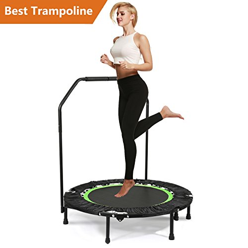 "Jaketen 40"" Foldable Rebounder Trampoline with Adjustable Handle Indoor Exercise Fitness Mini Trampoline for Adults or Kids"