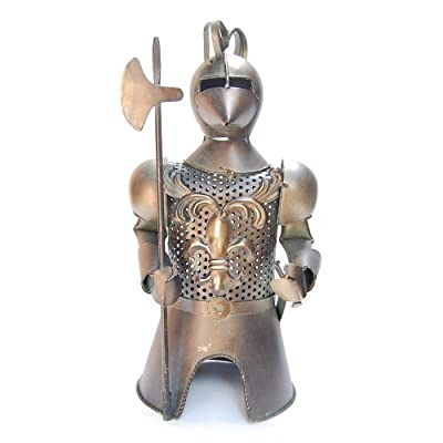 """Metal Medieval Knight Armor with Axe and Sword Bottle Cover, Wine Holder, 13"""" Tall"""