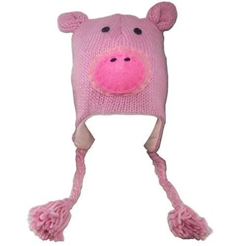 Pink Pig Hat Animal Fleece Lined Earflaps Adult Child Ski Cap by Plushland