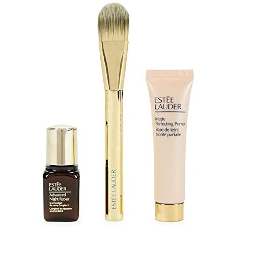 Estee Lauder Matte Foundation (Estee Lauder Double Wear light 3 piece Set (Advanced Night Repair, Primer, Foundation Brush), NEW, No)