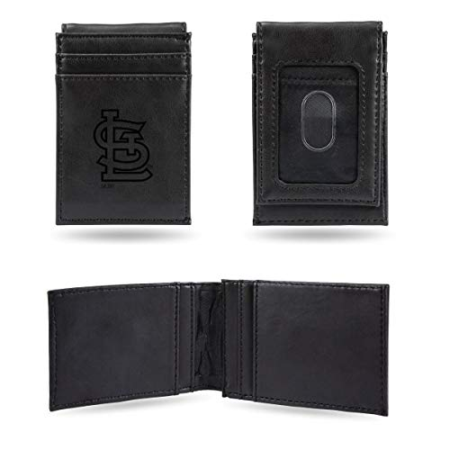 Rico St Louis Cardinals MLB Laser Engraved Black Front Pocket Wallet/Money Clip