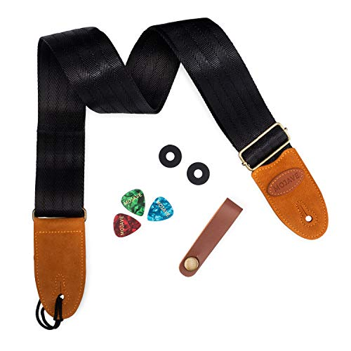 Guitar Strap for Electric, Acoustic, Bass made of Black Woven Nylon and Soft Suede Leather Ends - with Bonus Accessories Set
